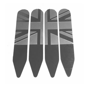 4 Pairs Of Stainless Union Jack Collar Stiffeners