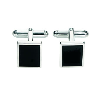 Sterling Silver Black Agate Cufflinks