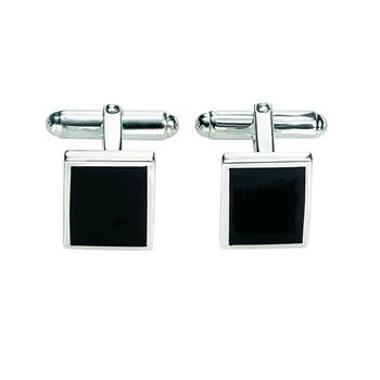 Sterling Silver Black Agate Cufflinks