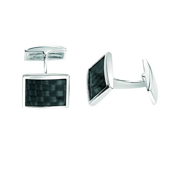 Sterling Silver Black Weave Cufflinks