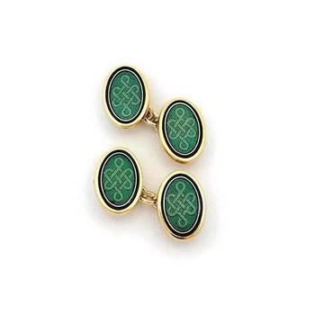 Green Oval Cufflinks
