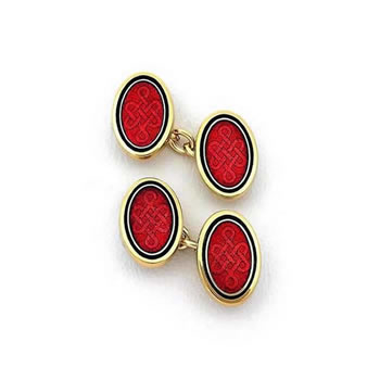 Red Oval and Gold Cufflinks