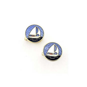 Blue Sailboat Cufflinks