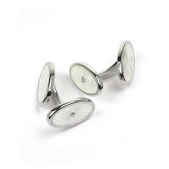 Sterling Silver And Diamond White Oval Elbow Cufflinks