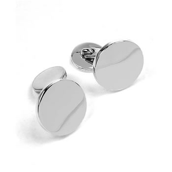 Sterling Silver Polished Circular Engravable Elbow Cufflinks