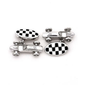 Sterling Silver Black Car-racer Chain Link Cufflinks