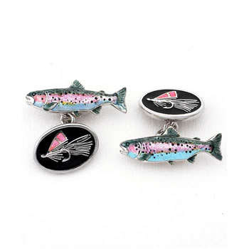 Sterling Silver Black Trout Chain Link Cufflinks