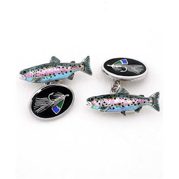 Sterling Silver Black Fish-Trout Chain Link Cufflinks
