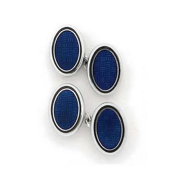 Sterling Silver Blue Oval Chain Link Cufflinks