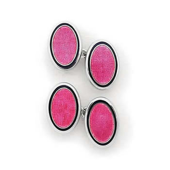 Sterling Silver Pink Oval Chain Link Cufflinks