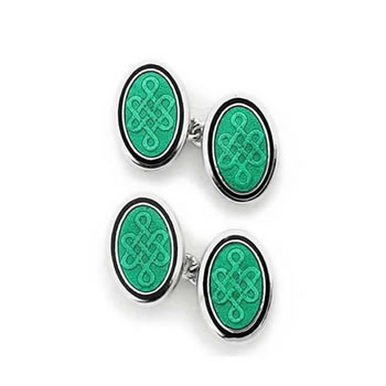 Sterling Silver Green Celtic Oval Chain Link Cufflinks