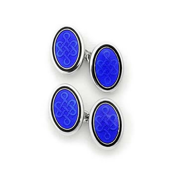 Sterling Silver Blue Celtic Oval Chain Link Cufflinks