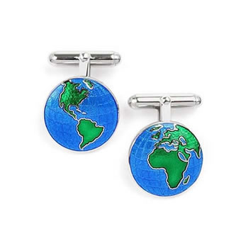 Sterling Silver Earth T-bar Cufflinks