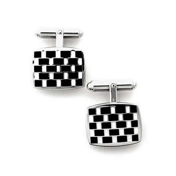 Sterling Silver White/Black Rectangular Check T-Bar Cufflinks