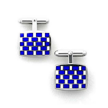 Sterling Silver Blue/White Rectangular Check T-Bar Cufflinks