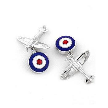 Sterling Silver Red-White-Blue Spitfire Plane Chain Link Cufflinks