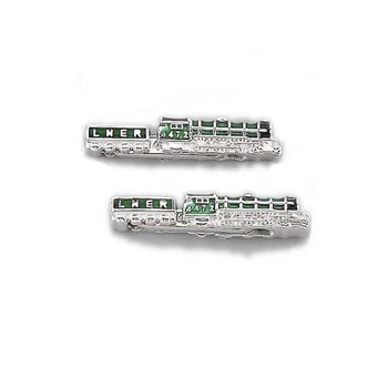 Sterling Silver Green Train Chain Link Cufflinks