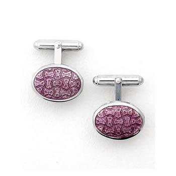 Sterling Silver Purple Oval-Weave T-Bar Cufflinks