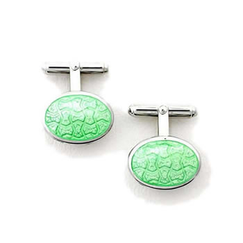 Sterling Silver Lime Green Oval-Weave T-Bar Cufflinks