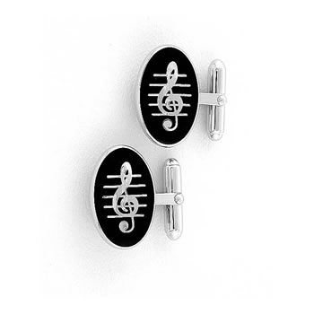 Sterling Silver Black Treble Clef T-Bar Cufflinks