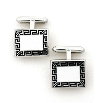 Sterling Silver Black And White Rectangular-Herringbone T-Bar Cufflinks