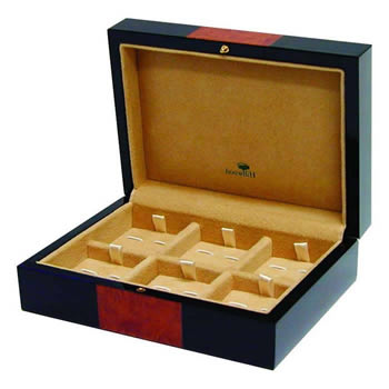Hillwood Piano Black Cufflink Box