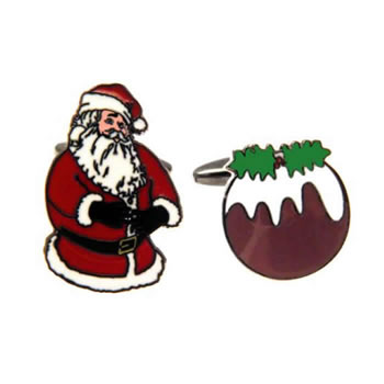 Father Christmas And Christmas Pudding Cufflinks