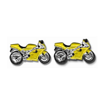 Yellow Sports Bike Cufflinks