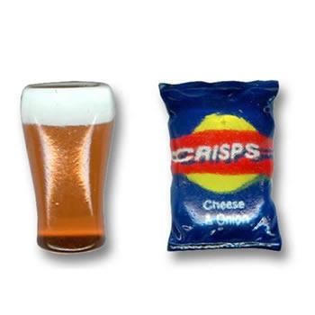 Pint Of Beer And Crisps Cufflinks
