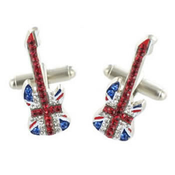 Union Jack Flag Guitar Cufflinks