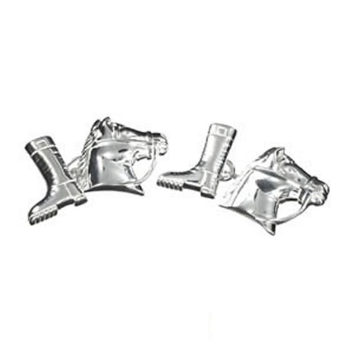Sterling Silver Horse Head And Boot Cufflinks