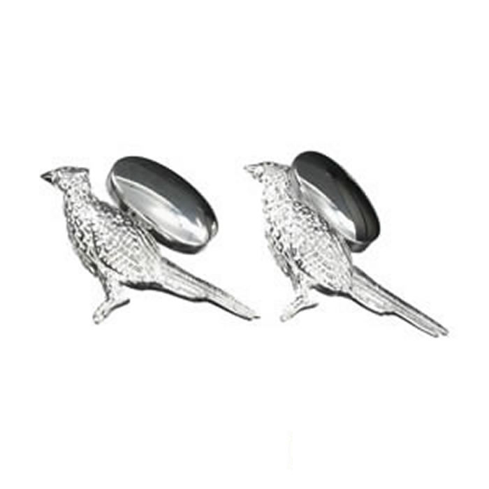 Sterling Silver Standing Tall Pheasant Cufflinks