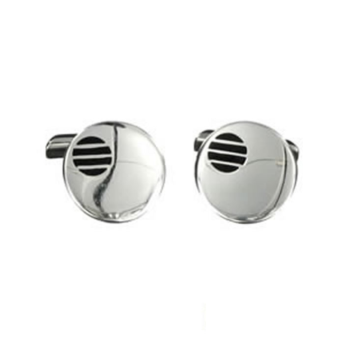 Sterling Silver Round Lined Cufflinks