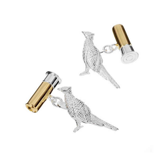 Sterling Silver Pheasant Bullet Cufflinks