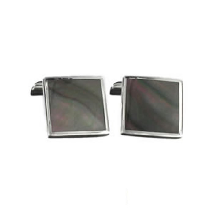 Sterling Silver Dark Shell Mosaic Cufflinks