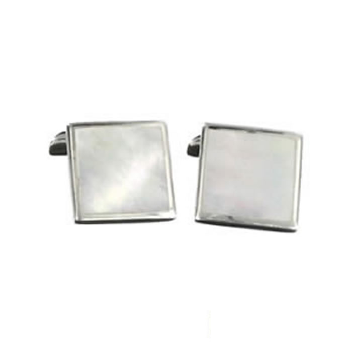 Sterling Silver Light Shell Mosaic Cufflinks