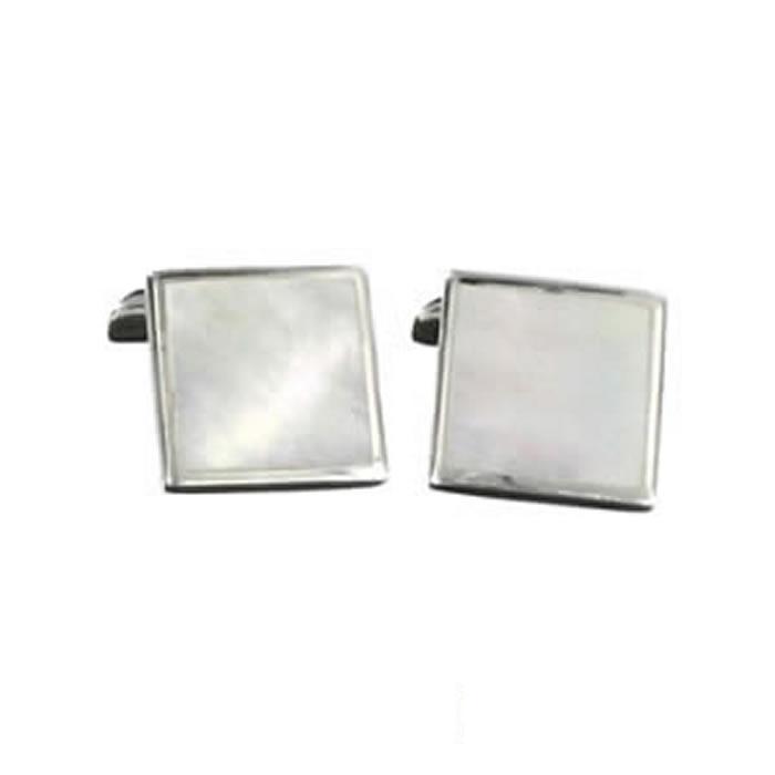 Sterling Silver Light Shell Mosaic Cufflinks