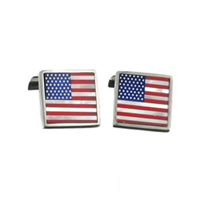 Sterling Silver American Flag Cufflinks