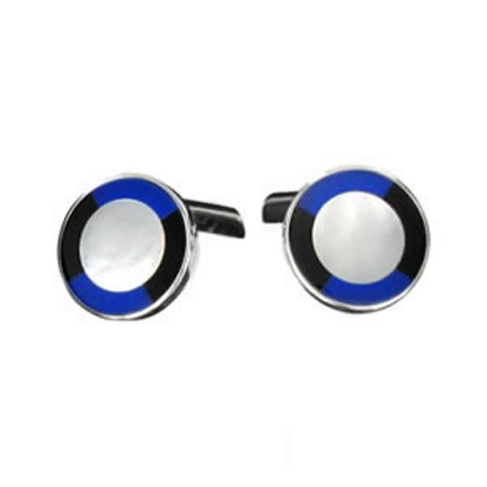 Sterling Silver Circular Sodalite Cufflinks