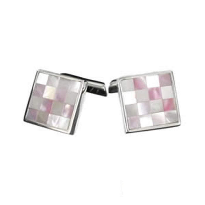 Sterling Silver Pink Chequered Mosaic Cufflinks