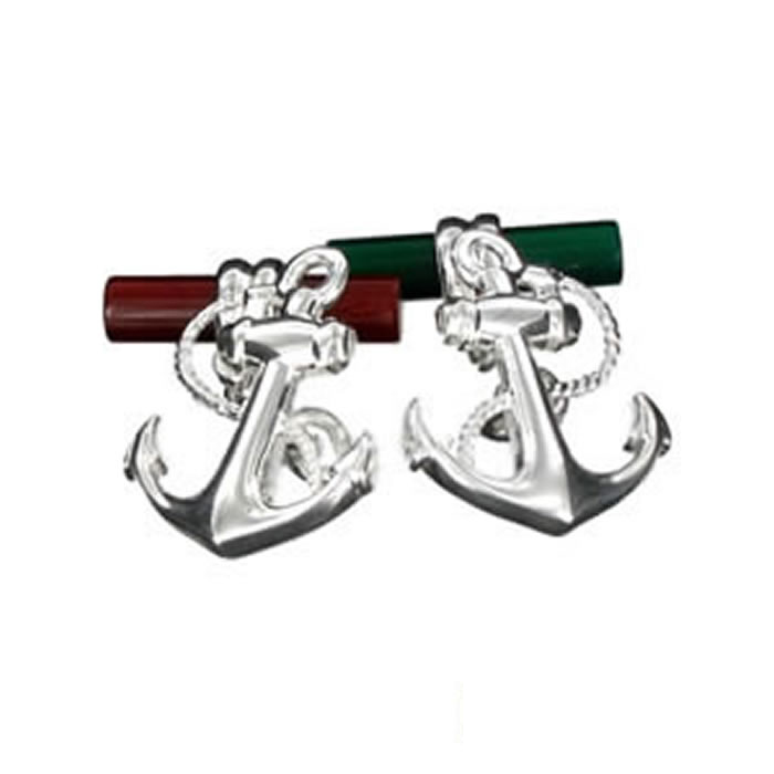 Sterling Silver Anchor Port Starboard Cufflinks