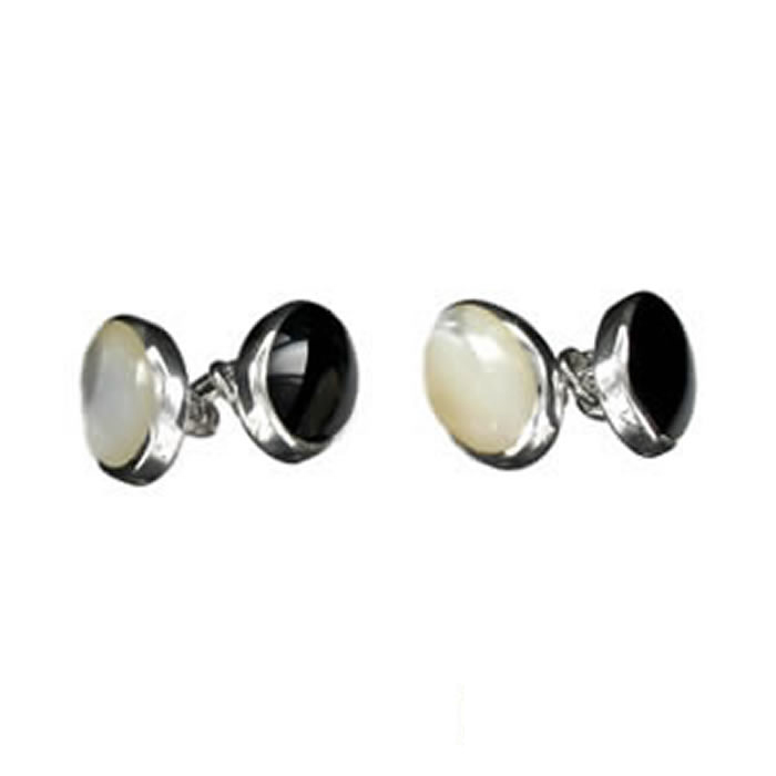 Sterling Silver Black And White Mop Cufflinks