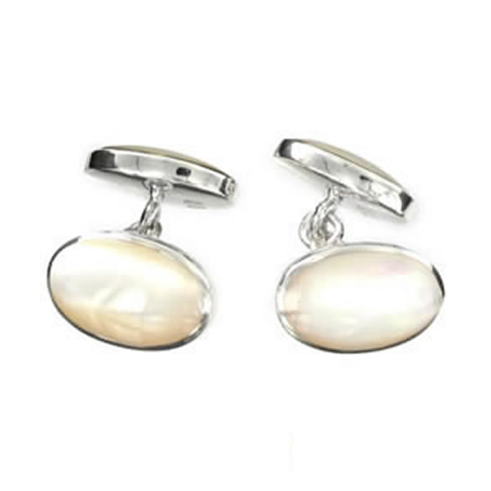 Sterling Silver White Mop Styled Cufflinks