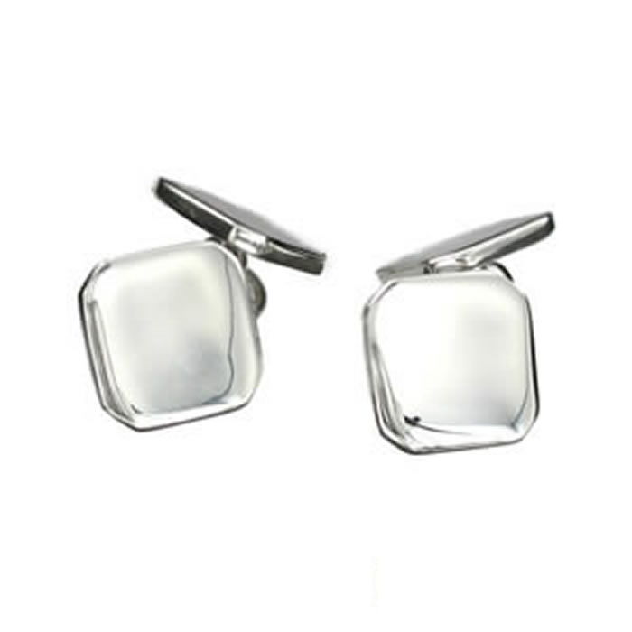 Sterling Silver Plain Emerald Cufflinks