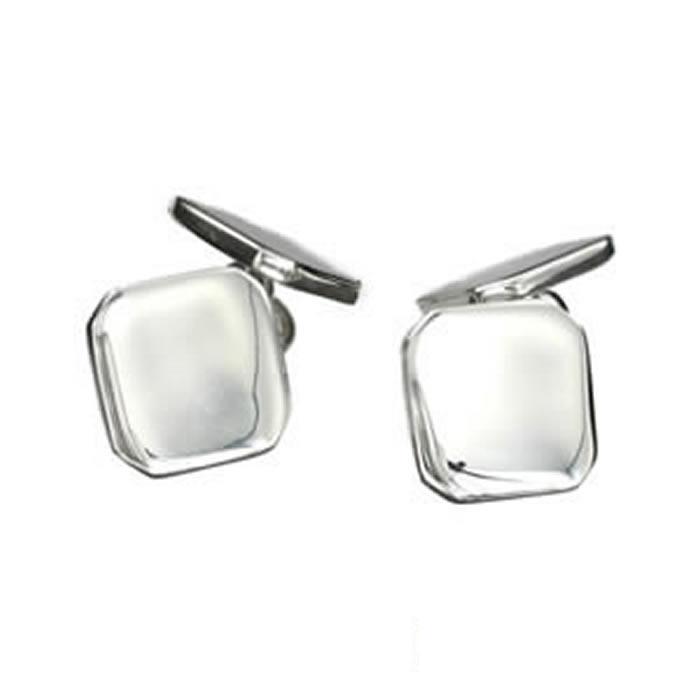 Sterling Silver Plain Emerald Cufflinks