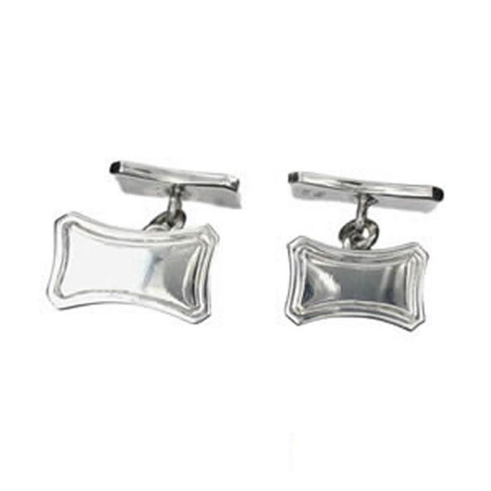 Sterling Silver Rectangular Lined Cufflinks