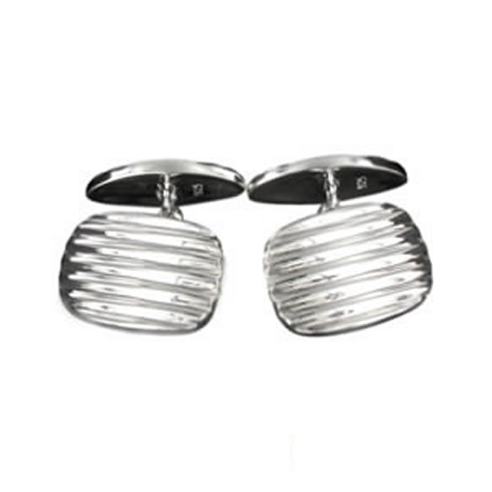 Sterling Silver Grooved Cufflinks