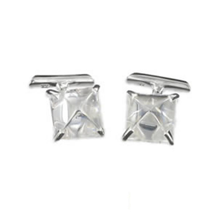 Sterling Silver White Cubic Zirconia Square Cufflinks