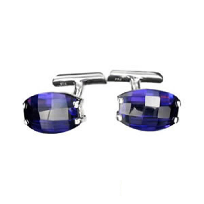 Sterling Silver Purple Cubic Zirconia Oval Cufflinks