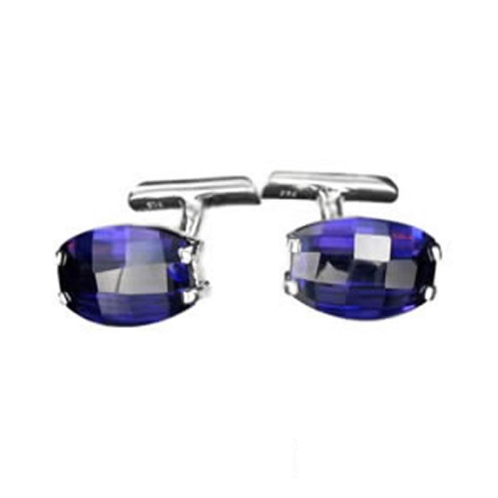 Sterling Silver Purple Cubic Zirconia Oval Cufflinks